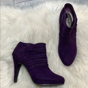 Coach And Four Purple Pleated Booties Size 7.5